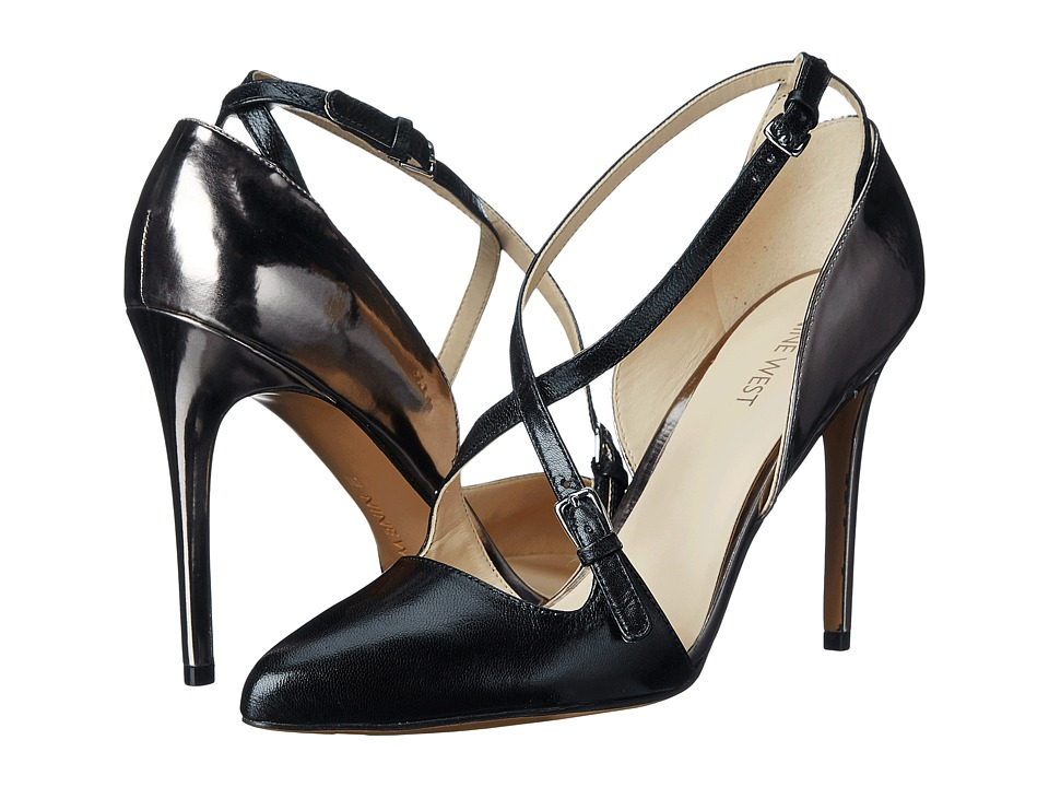 Nine West - Earnest (Black/Pewter Leather) High Heels