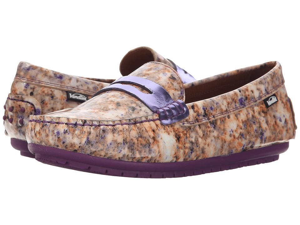 Venettini Kids - 55-Savor (Toddler/Little Kid/Big Kid) (Beige Spot Leather/Purple Mirror Leather) Girls Shoes