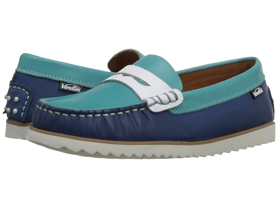 Venettini Kids - 55-Timo (Little Kid/Big Kid) (Pacific Wax Leather/Turquoise Wax Leather/White Leather) Boys Shoes
