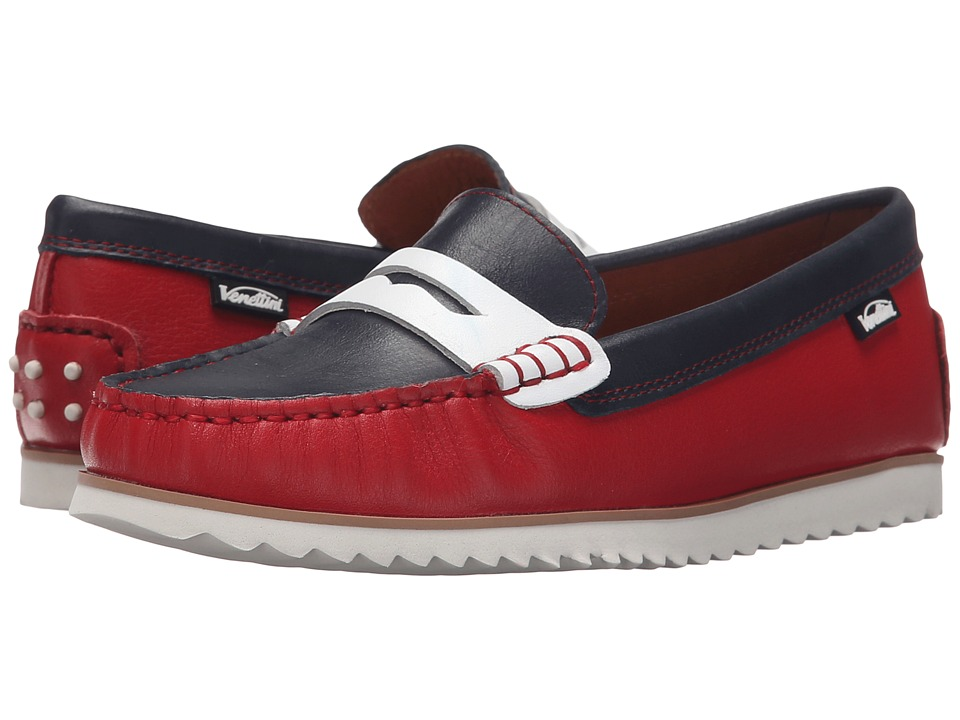 Venettini Kids - 55-Timo (Little Kid/Big Kid) (Red Embossed Leather/Navy Silk Wax Leather/White Leather) Boys Shoes