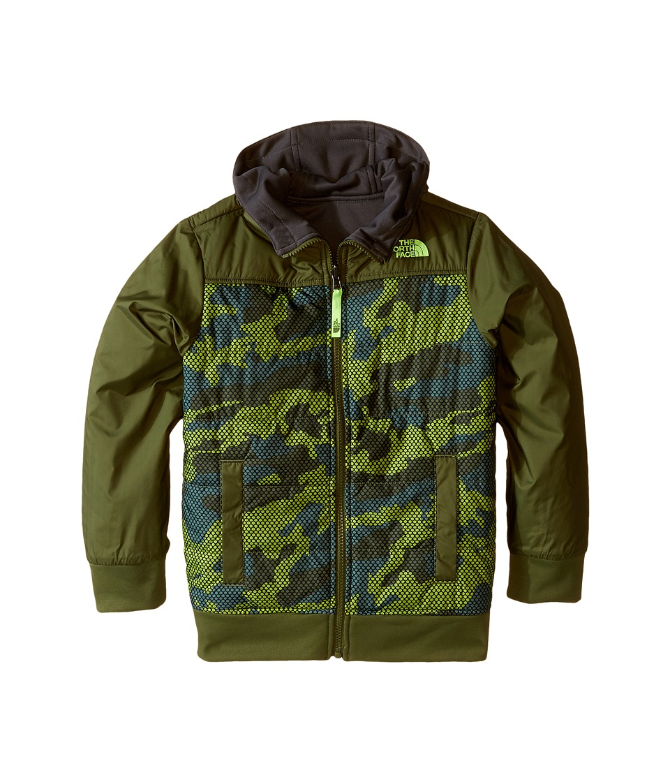 The North Face Kids - Reversible Quilted Surgent Hoodie (Little Kids/Big Kids) (Terrarium Green Mesh Camo) Boy's Coat