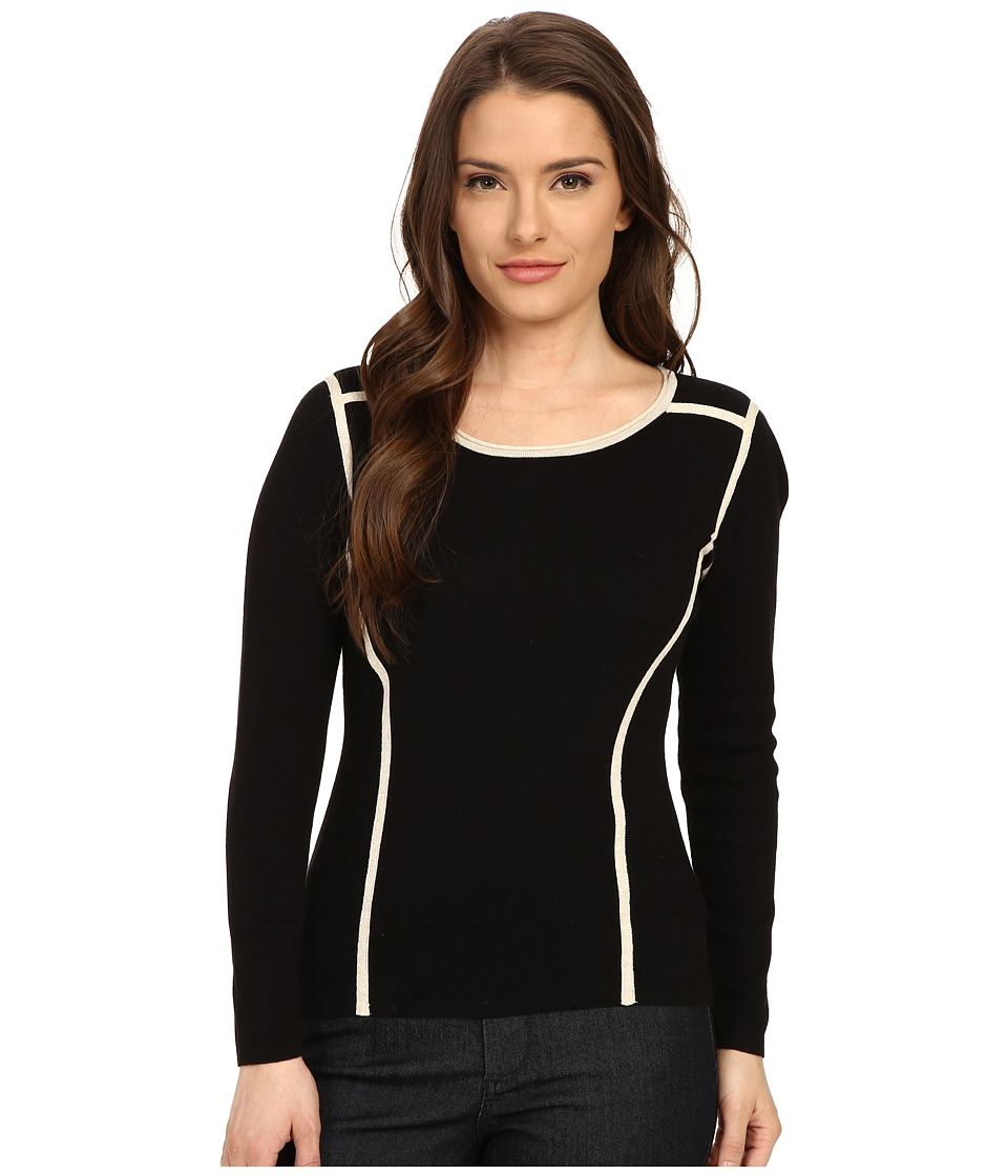 NIC+ZOE - Petite Clean Lines Top (Black Mix) Women's Long Sleeve Pullover