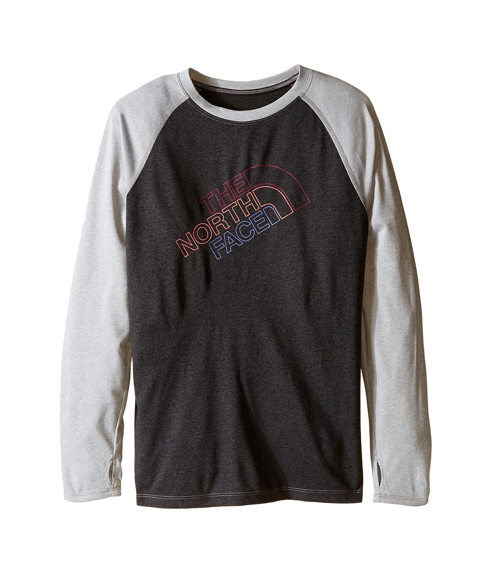 The North Face Kids - Mak Long Sleeve Baseball Tee (Little Kids/Big Kids) (TNF Dark Grey Heather) Girl's T Shirt