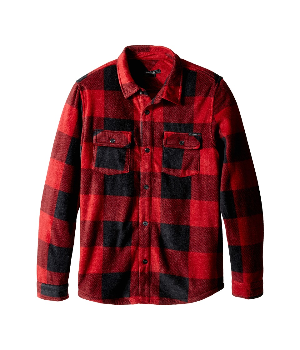 O'Neill Kids - Glacier Check (Big Kids) (Red) Boy's Long Sleeve Button Up
