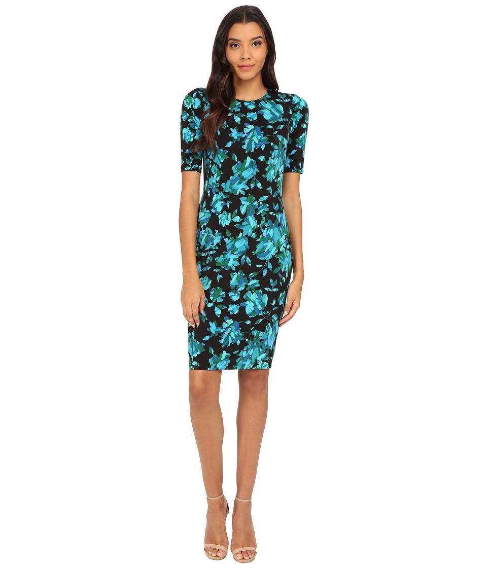 London Times - Extended Short Sleeve Jersey Printed Sheath (Blue) Women