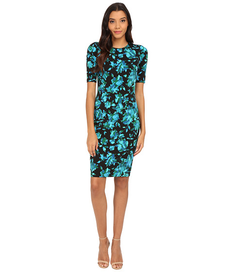 London Times - Extended Short Sleeve Jersey Printed Sheath (Blue) Women's Dress