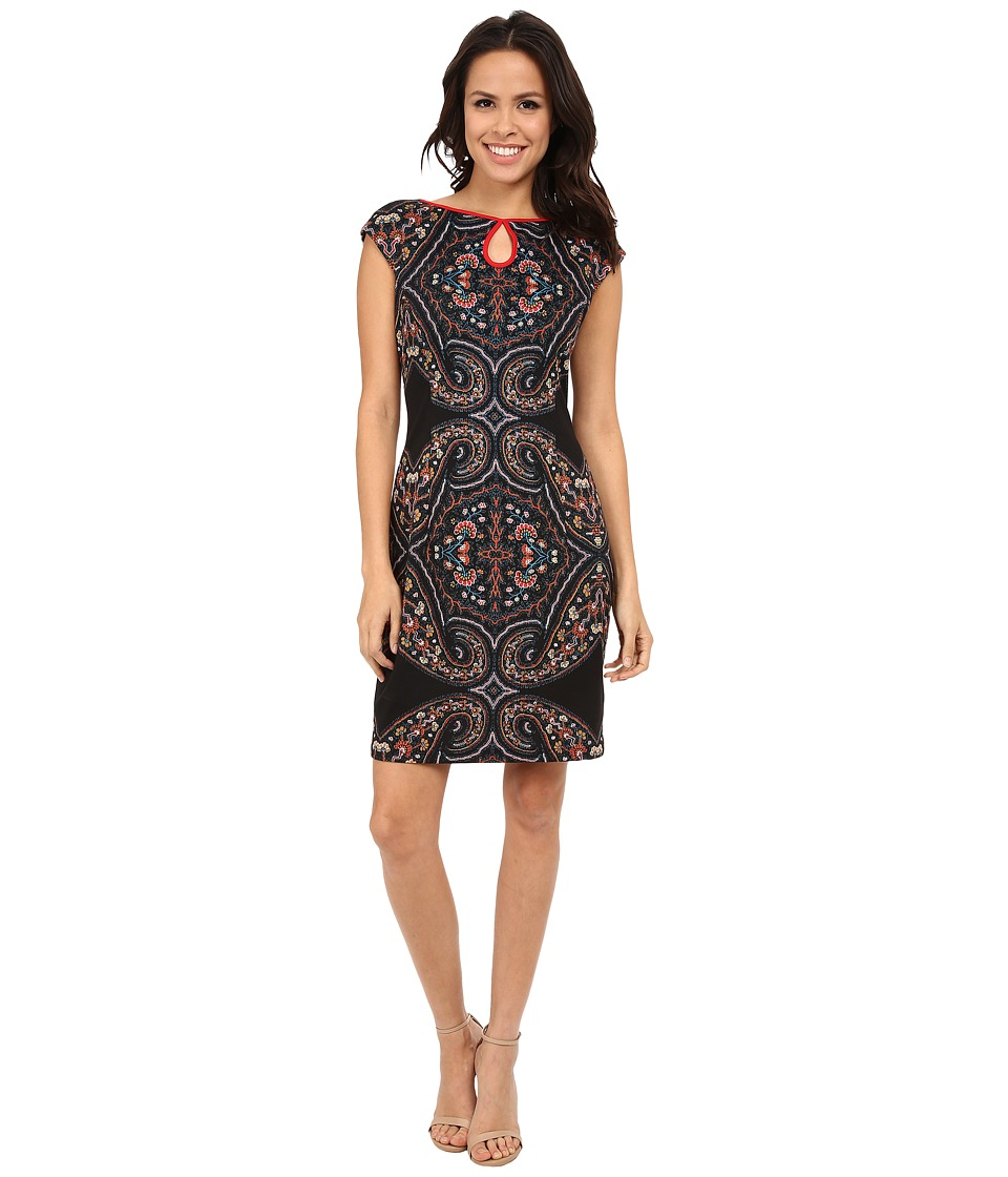 London Times - Cap Sleeve Keyhole Printed Sheath (Black/Red) Women's Dress