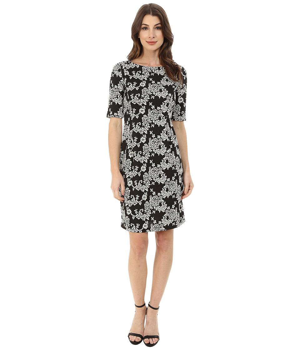 London Times - Elbow Sleeve Jacquard Sheath (Ivory/Black) Women's Dress