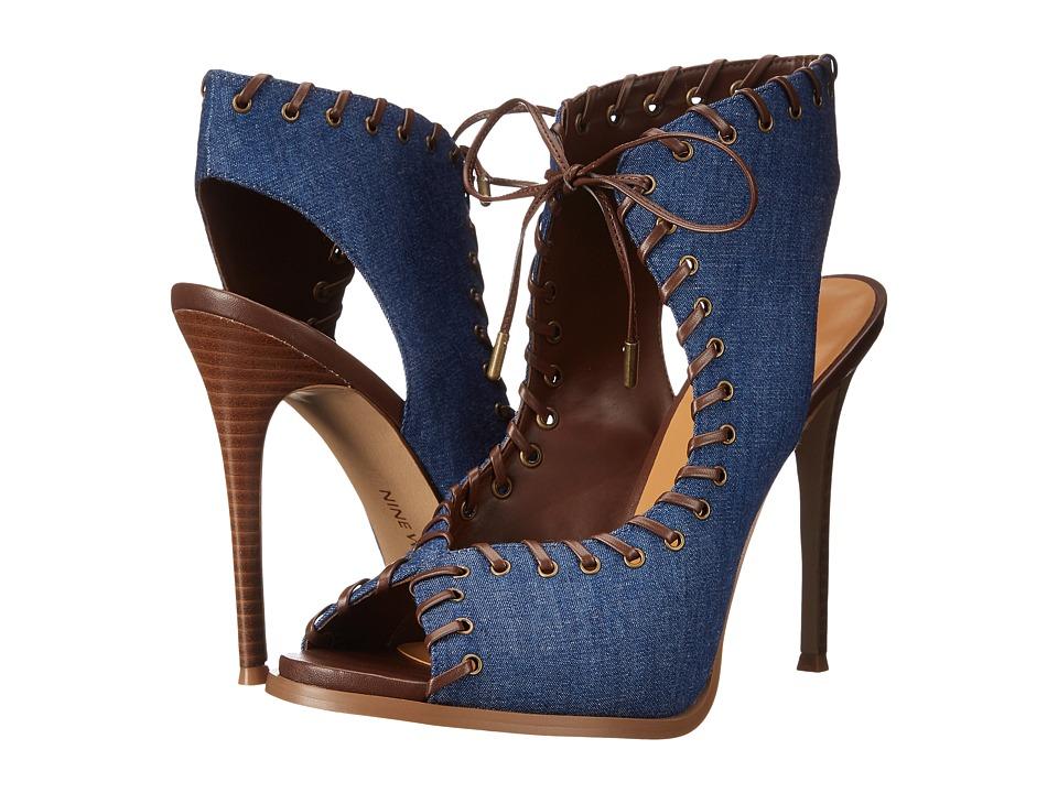 Nine West - Hotstuff (Blue/Dark Brown Fabric) Women's Shoes