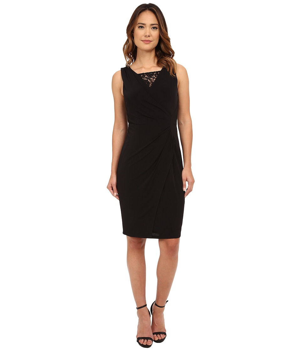 London Times - Sleeveless Lace Inset V-Neck Sheath (Black) Women