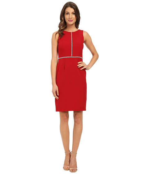 London Times - Sleeveless Jewel Detail Bodice Sheath (Red) Women
