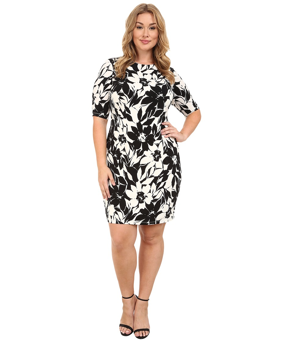 London Times - Plus Size Extended Short Sleeve Jersey Printed Sheath (White/Black) Women