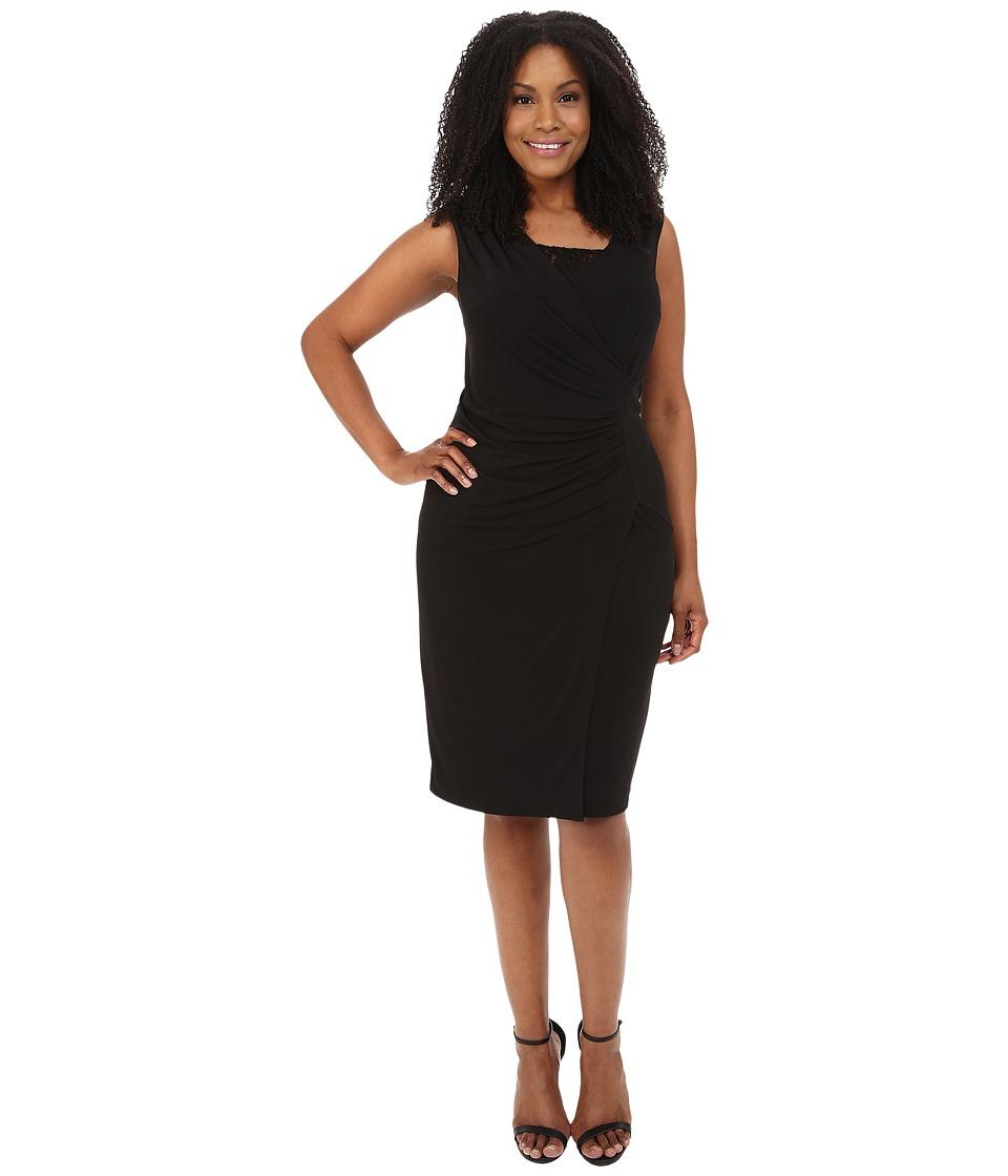 London Times - Plus Size Sleeveless Lace Inset V-Neck Sheath (Black) Women's Dress