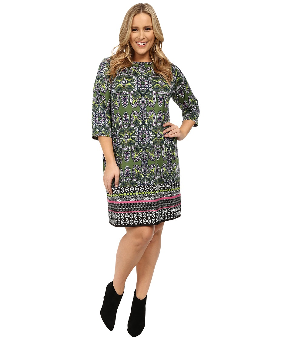 London Times - Plus Size Long Sleeve Printed Ponte Shift (Lime) Women's Dress