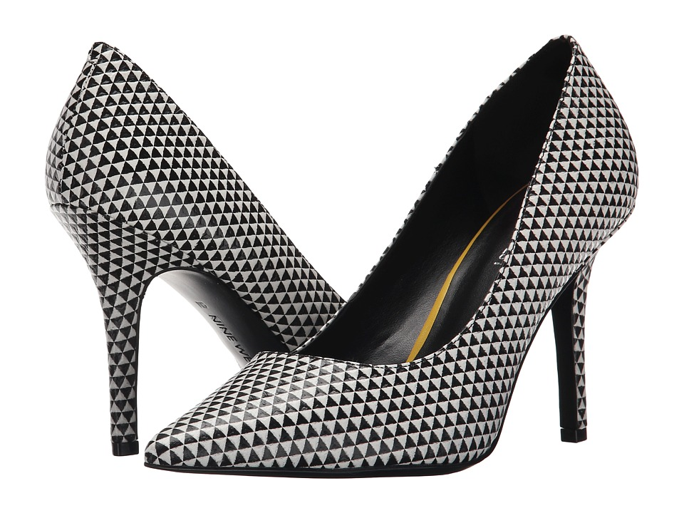 Nine West - Jackpot (Black/White Leather) High Heels