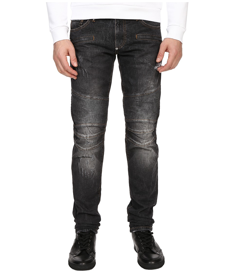 Philipp Plein - Highway Biker Straight Denim (Carbon Grey) Men
