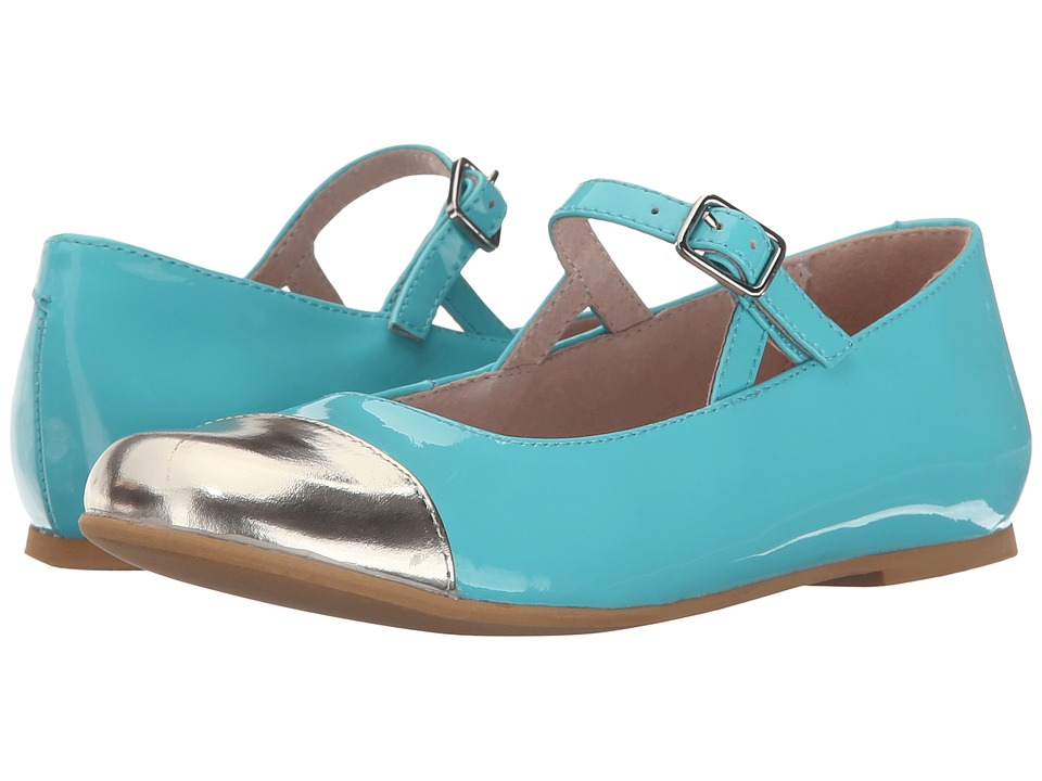 Venettini Kids - 55-Leslie (Toddler/Little Kid/Big Kid) (Gold Mirror Leather/Turquoise Patent) Girl's Shoes