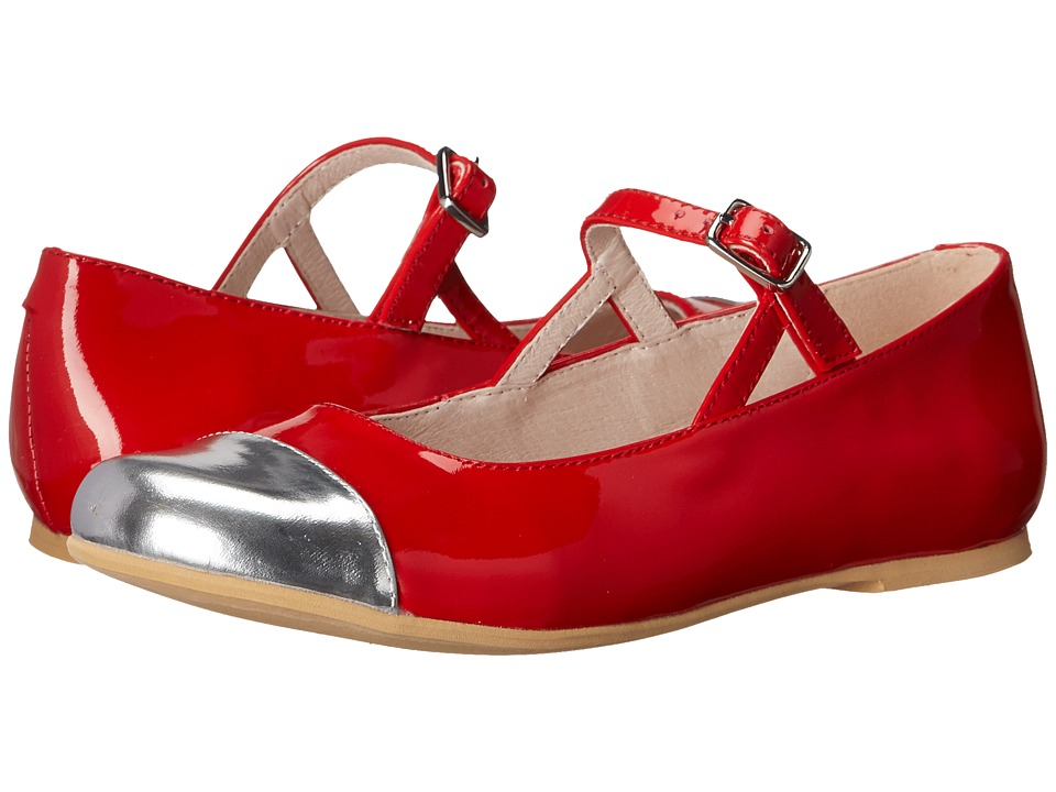 Venettini Kids - 55-Leslie (Toddler/Little Kid/Big Kid) (Silver Mirror Leather/Red Sparkle Patent) Girl's Shoes