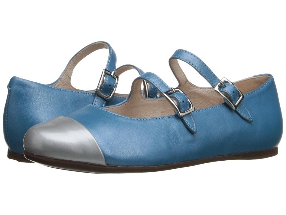 Venettini Kids - 55-Sara (Little Kid/Big Kid) (Grey Sparkle Patent/Celeste Pearlized Leather) Girls Shoes
