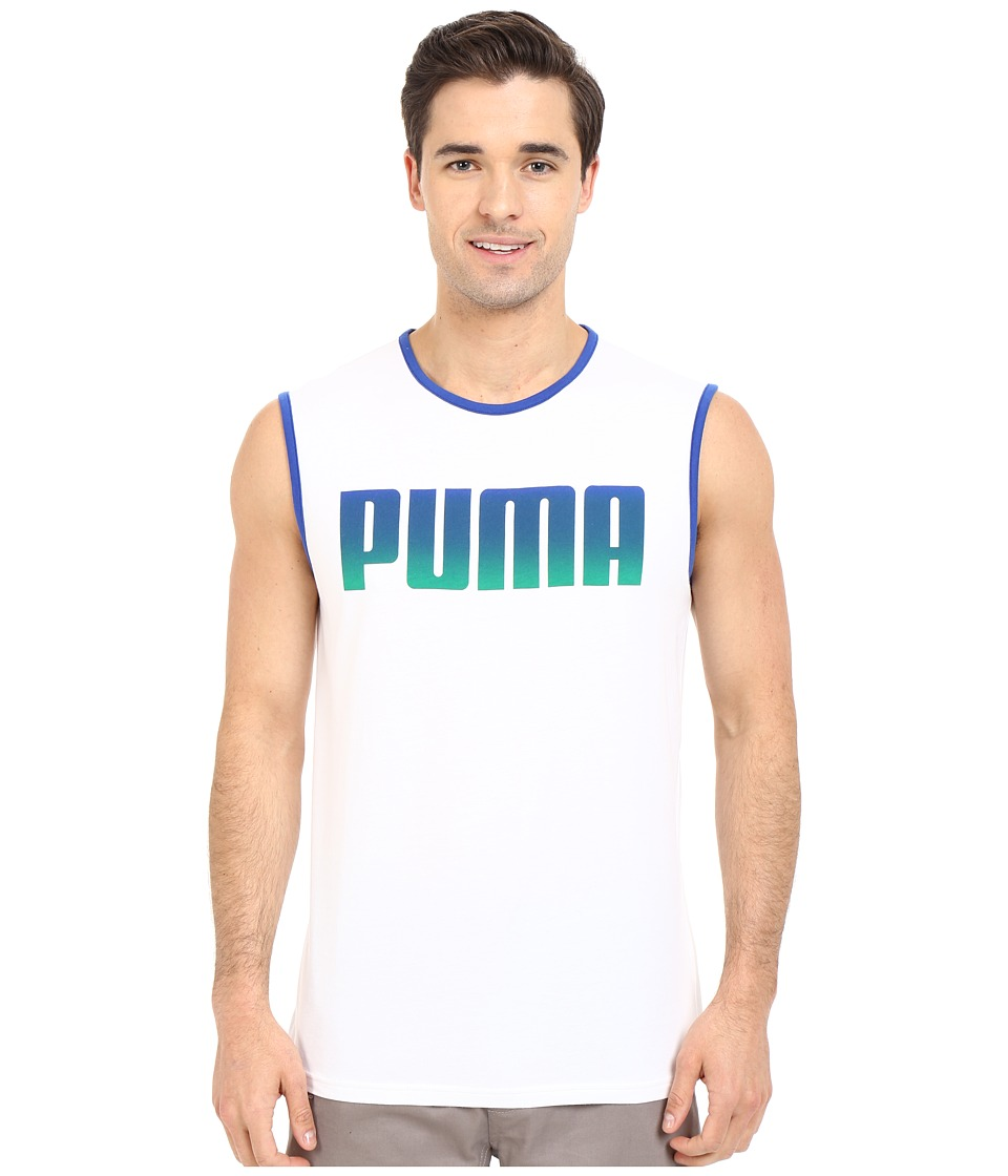 PUMA - Running Logo Tank Top (White) Men's Sleeveless