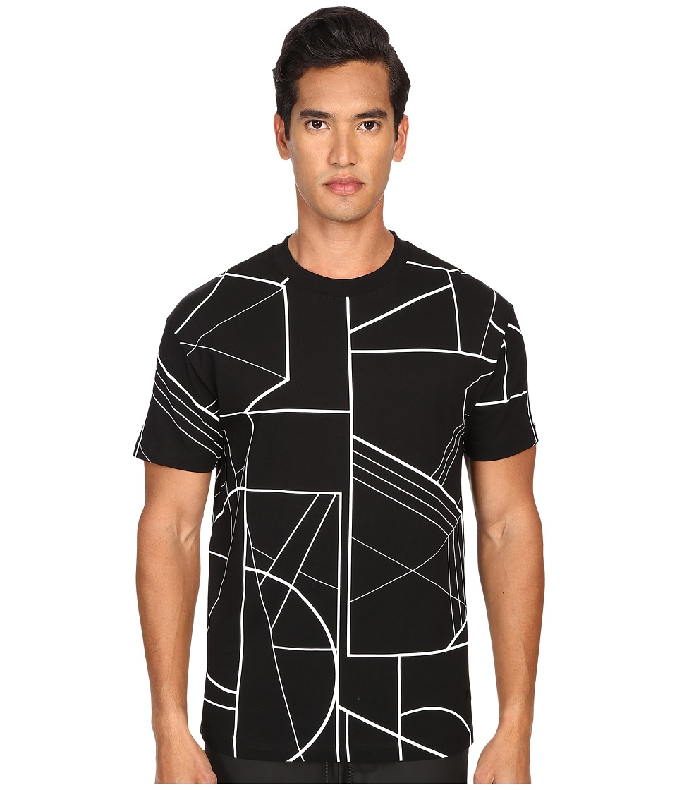 McQ - Dropped Shoulder Angle Print Tee (Darkest Black Angle) Men's Short Sleeve Pullover
