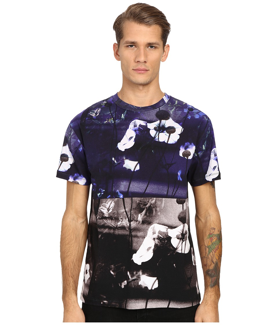 McQ - Dropped Shoulder Hyperfloral Tee (Dark Black Floral) Men's T Shirt