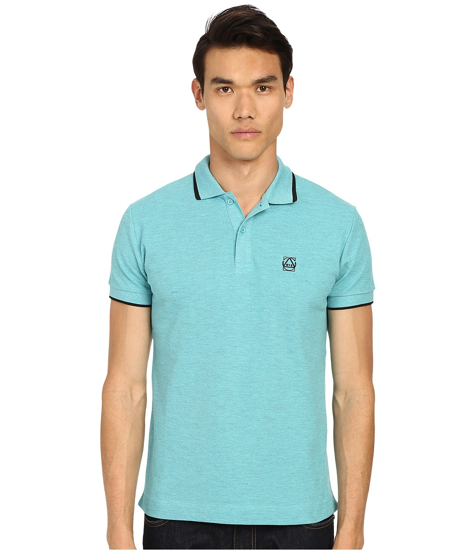McQ - Overdyed Polo (Overdyed Cyan) Men's Short Sleeve Knit