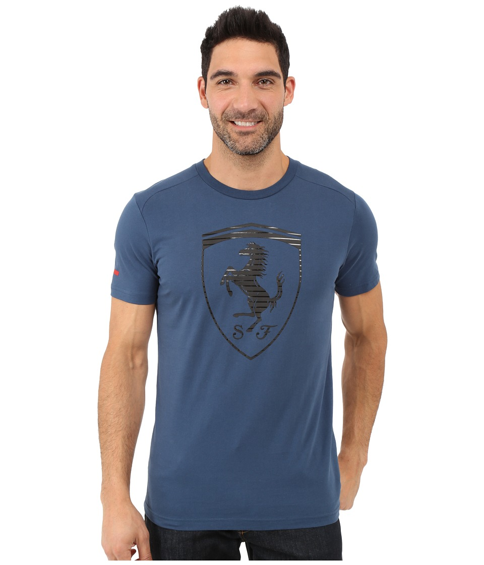 PUMA - Ferrari Big Shield Tee (Blue Wing Teal) Men's T Shirt