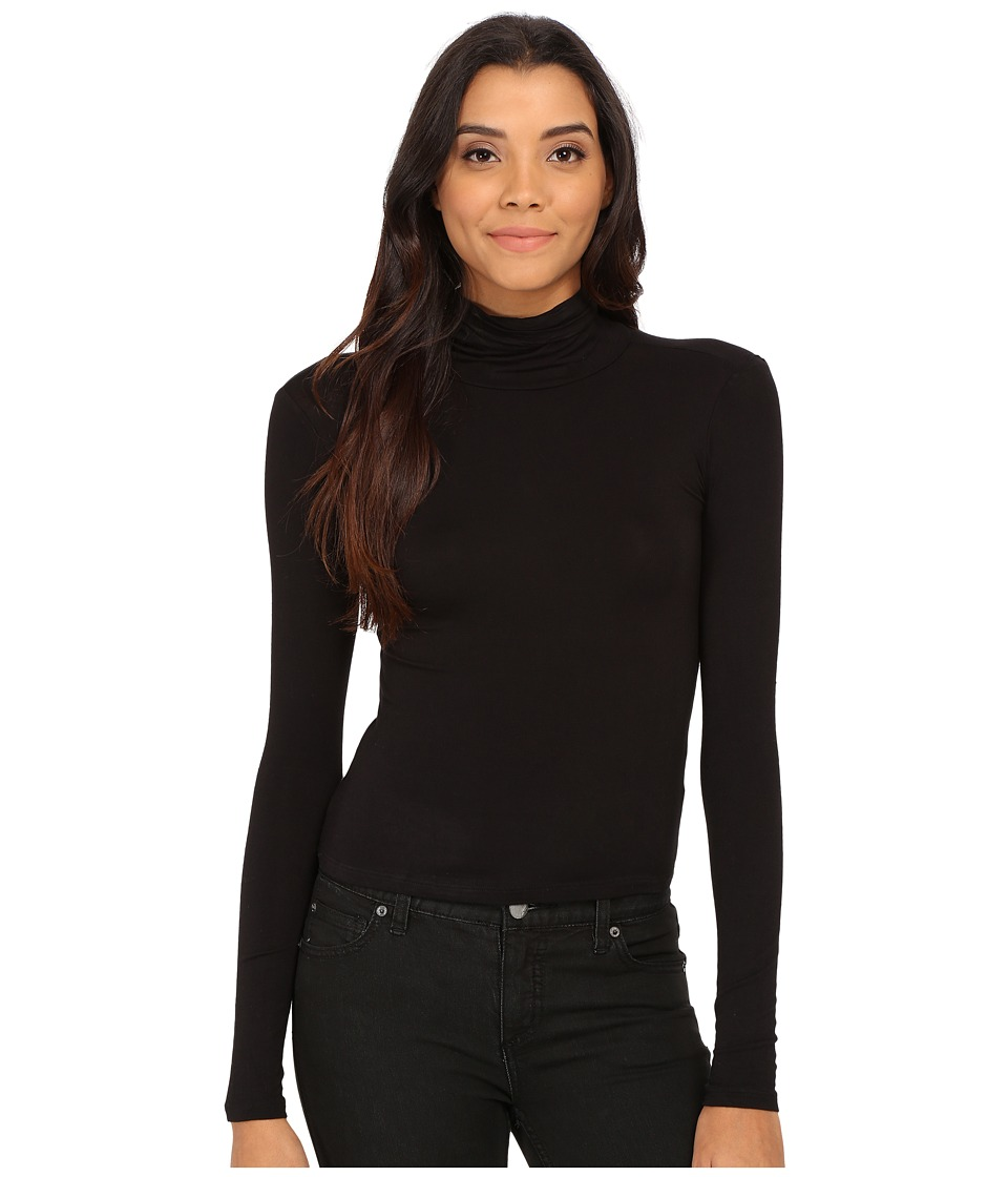 Pink Rose - Turtleneck Knit Top (Black) Women's Sweater