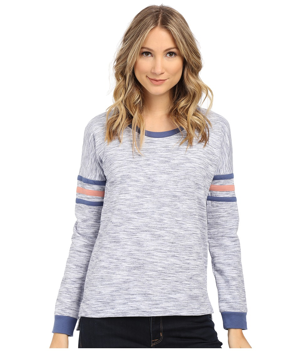 Pink Rose - Long Sleeve Knit Top (Blue Combo) Women's Sweatshirt