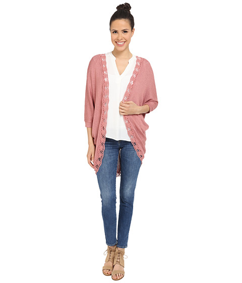 Pink Rose - Embroidered Edge Long Cardi (Velveteen) Women's Sweater