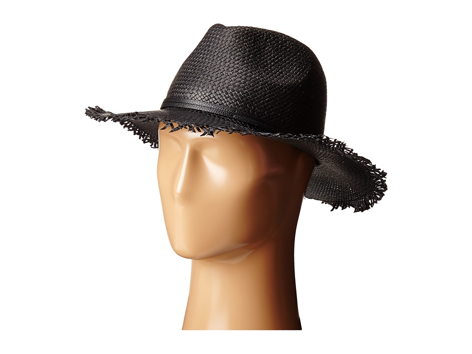 BCBGMAXAZRIA - Frayed Panama Hat (Black) Caps