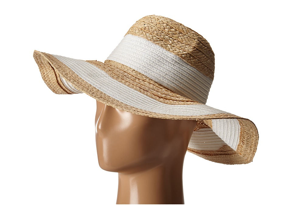 BCBGMAXAZRIA - Classic Stripe Panama Hat (White) Caps