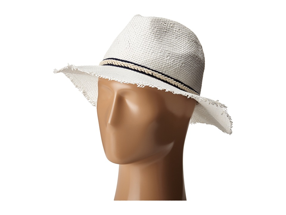 BCBGMAXAZRIA - Textured Ribbon Fedora Hat (White) Fedora Hats