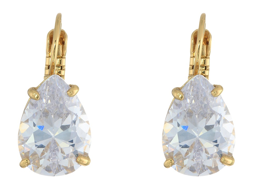 Kate Spade New York - Draped Jewels Tear Drop Leverbacks Earrings (Clear) Earring