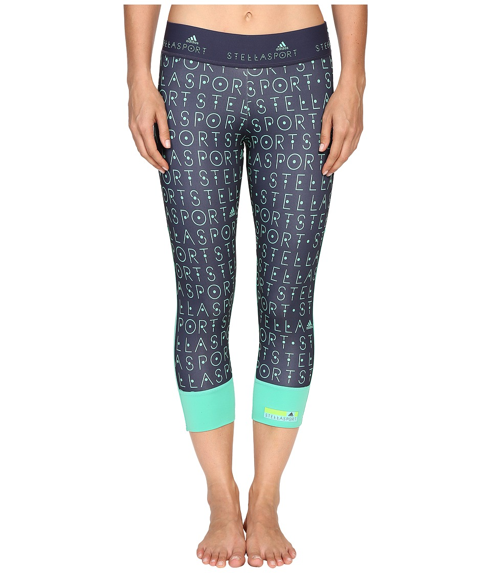 adidas - 3/4 Tights AH8858 (Midnight Grey/Bright Green) Women's Workout