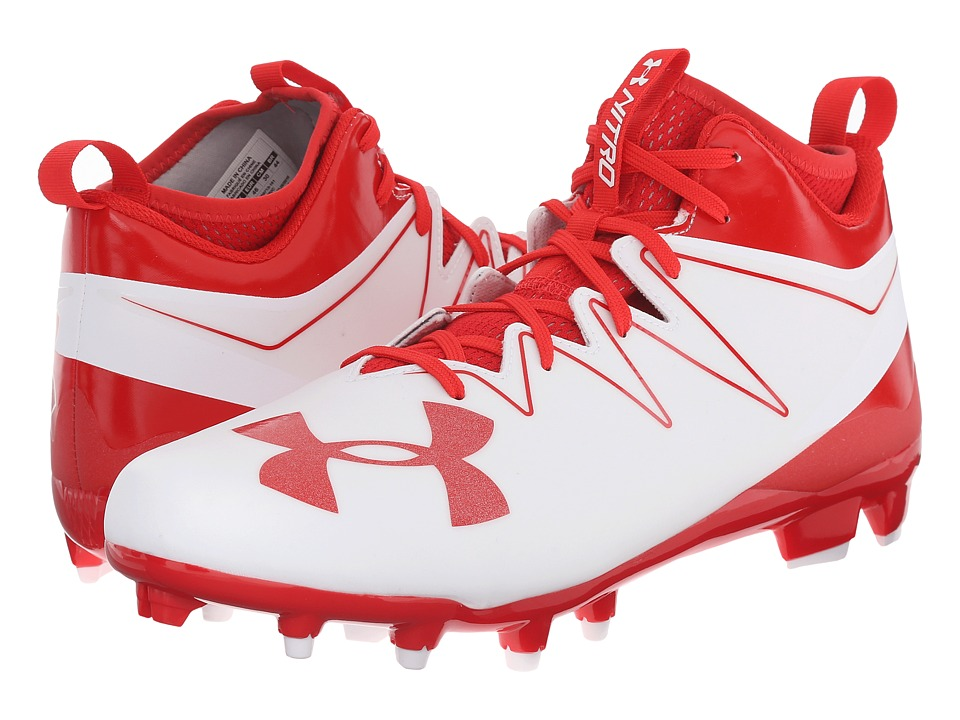 Under Armour - UA Nitro Mid MC (White/Red) Men's Cleated Shoes