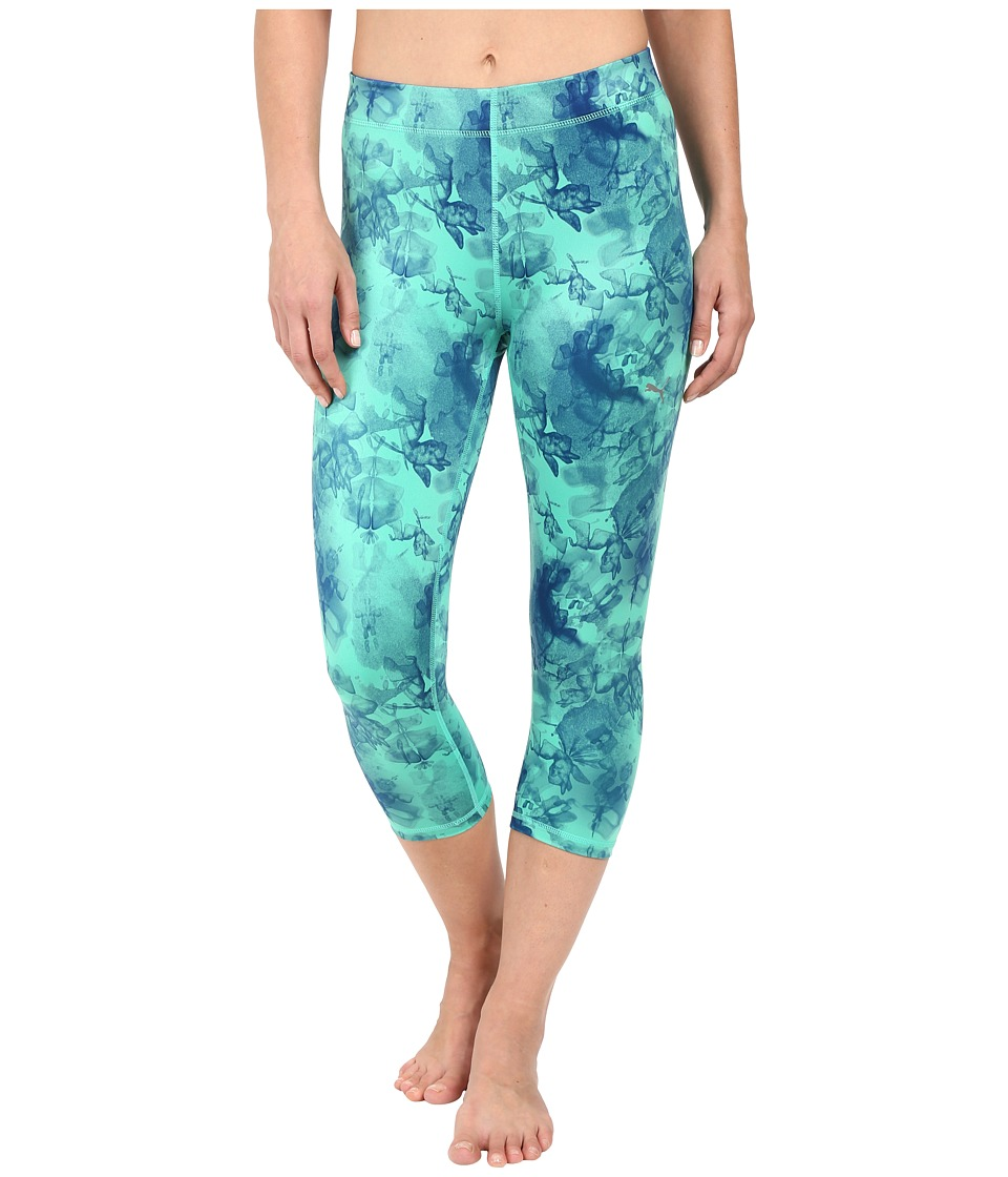 PUMA - All Eyes On Me 3/4 Tights (Mint Leaf/Dazzling Blue) Women's Clothing