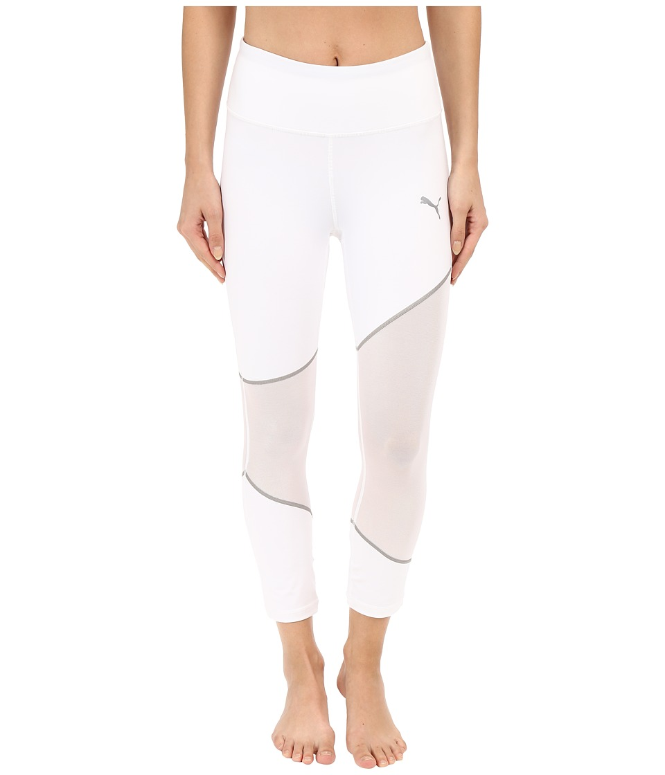 PUMA - Mesh Clash Tights (White/Silver) Women's Casual Pants