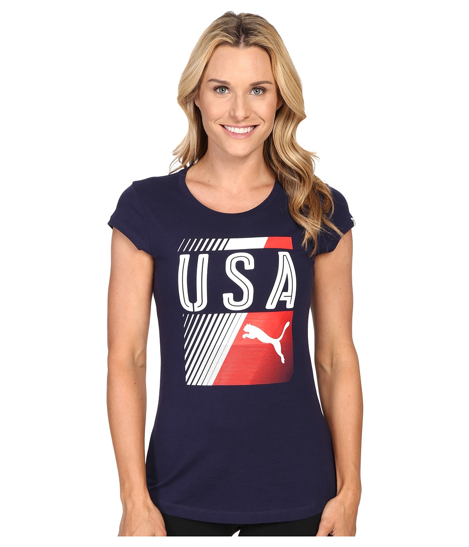 PUMA - Olympic Fan Tee (Peacoat/USA) Women's T Shirt