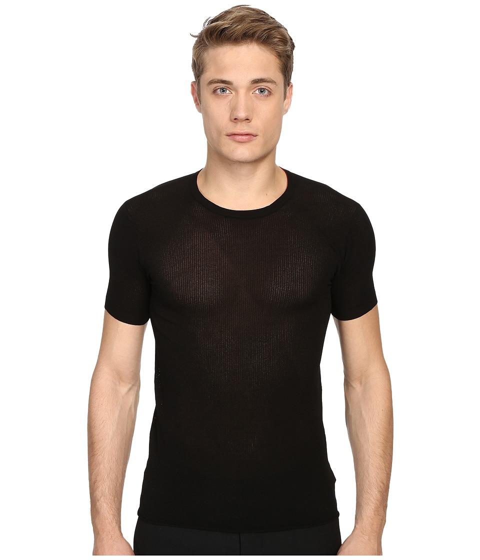 CoSTUME NATIONAL - Lux Bottom Rib Shirt (Black) Men's T Shirt