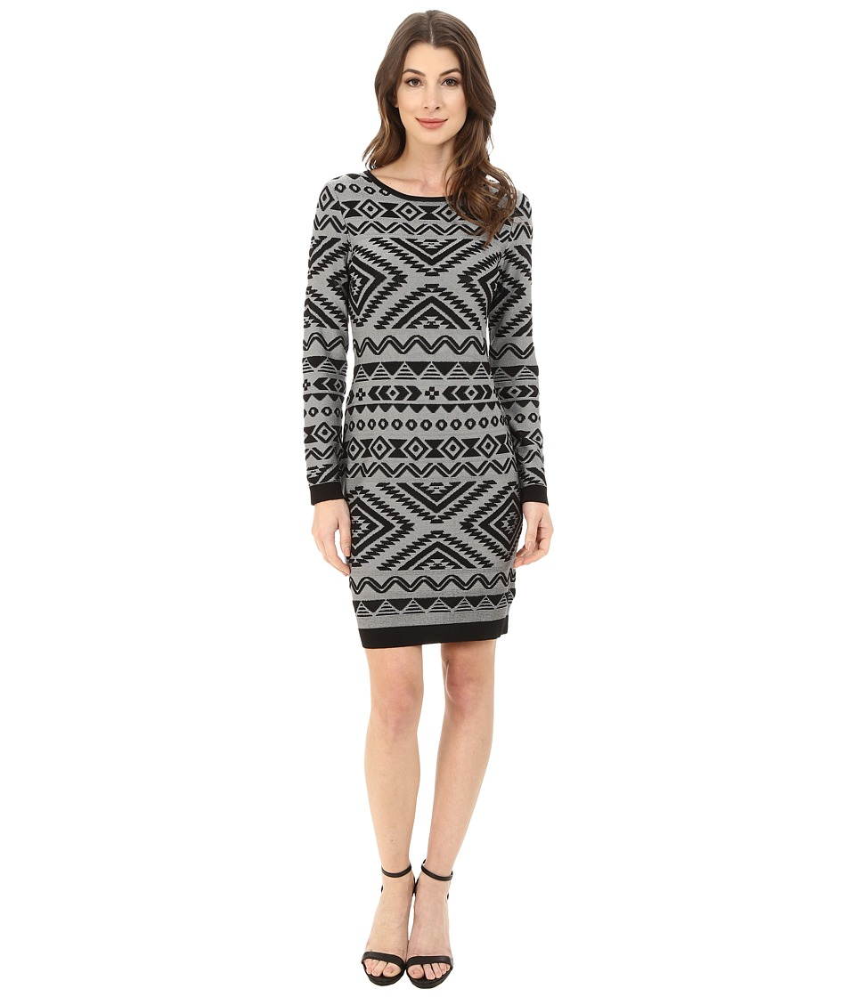 Jessica Simpson Long Sleeve Knit Dress with Aztec Print (Black/White) Women