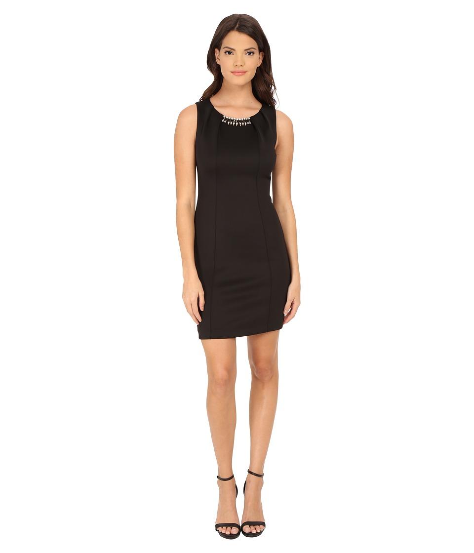 Jessica Simpson - Scuba Sheath w/ Necklace (Black) Women's Dress