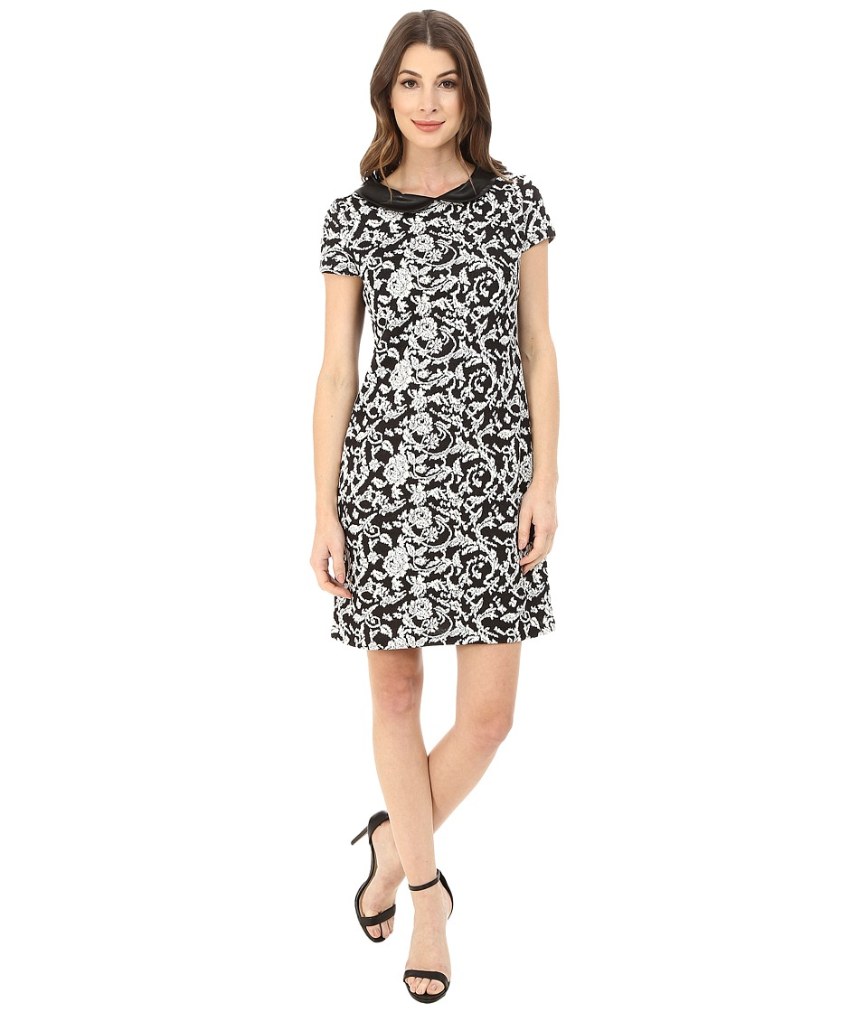 Jessica Simpson - Jacquard Shift with Collar (Black/White) Women's Dress