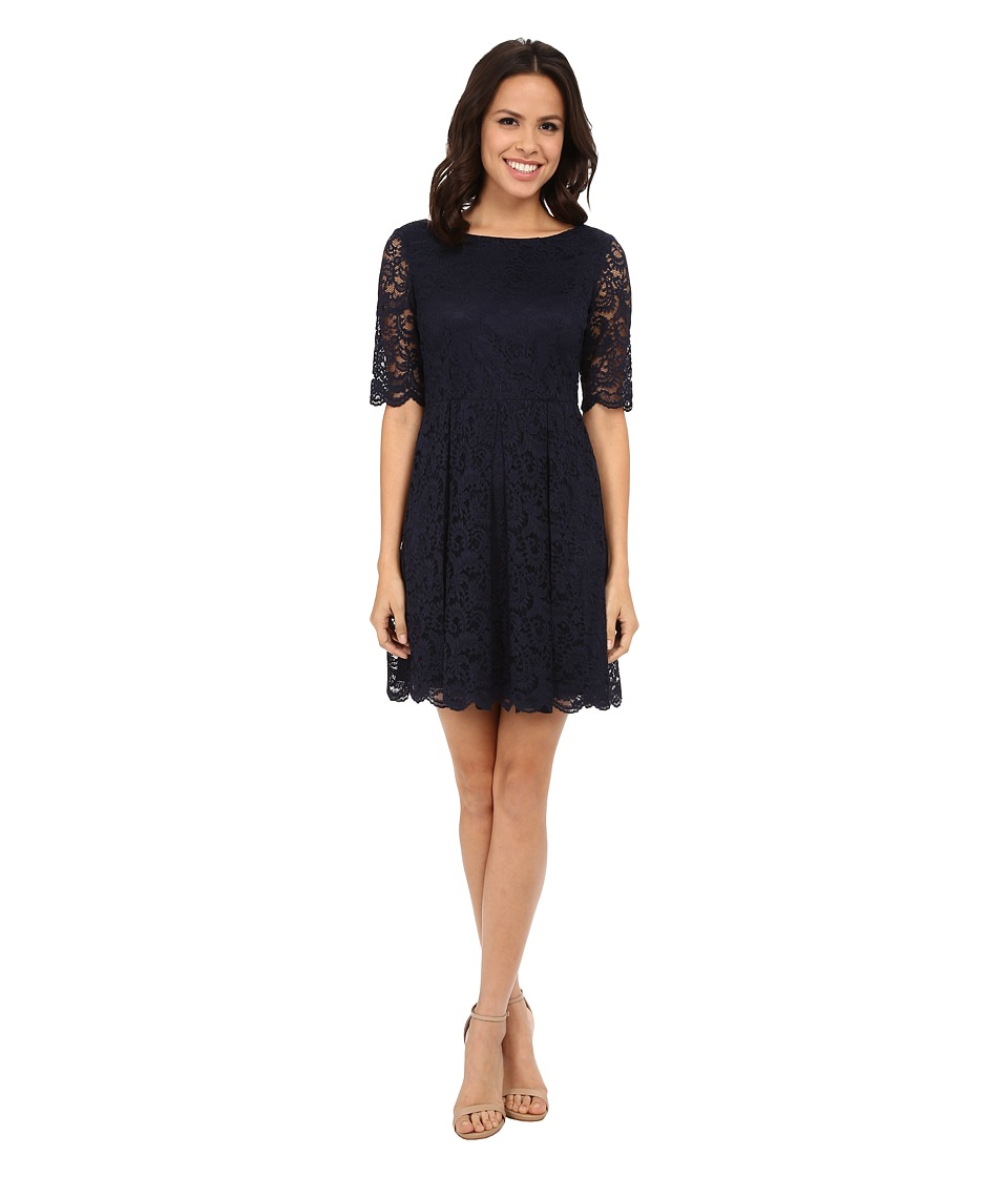 Jessica Simpson - Lace Dress 3/4 Sleeve (Navy) Women's Dress