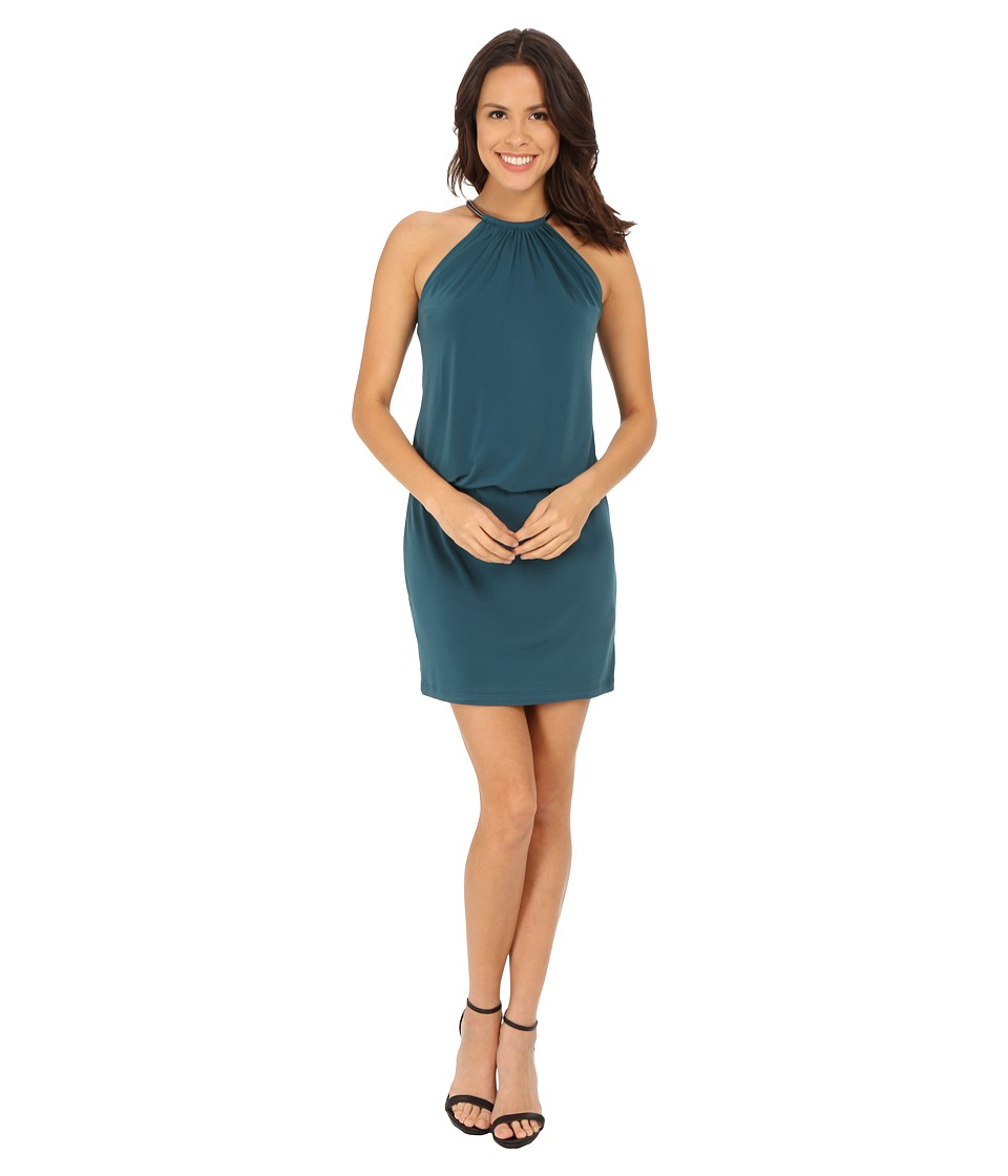 Jessica Simpson - Bungee Necklace Blouson Dress (Teal) Women's Dress