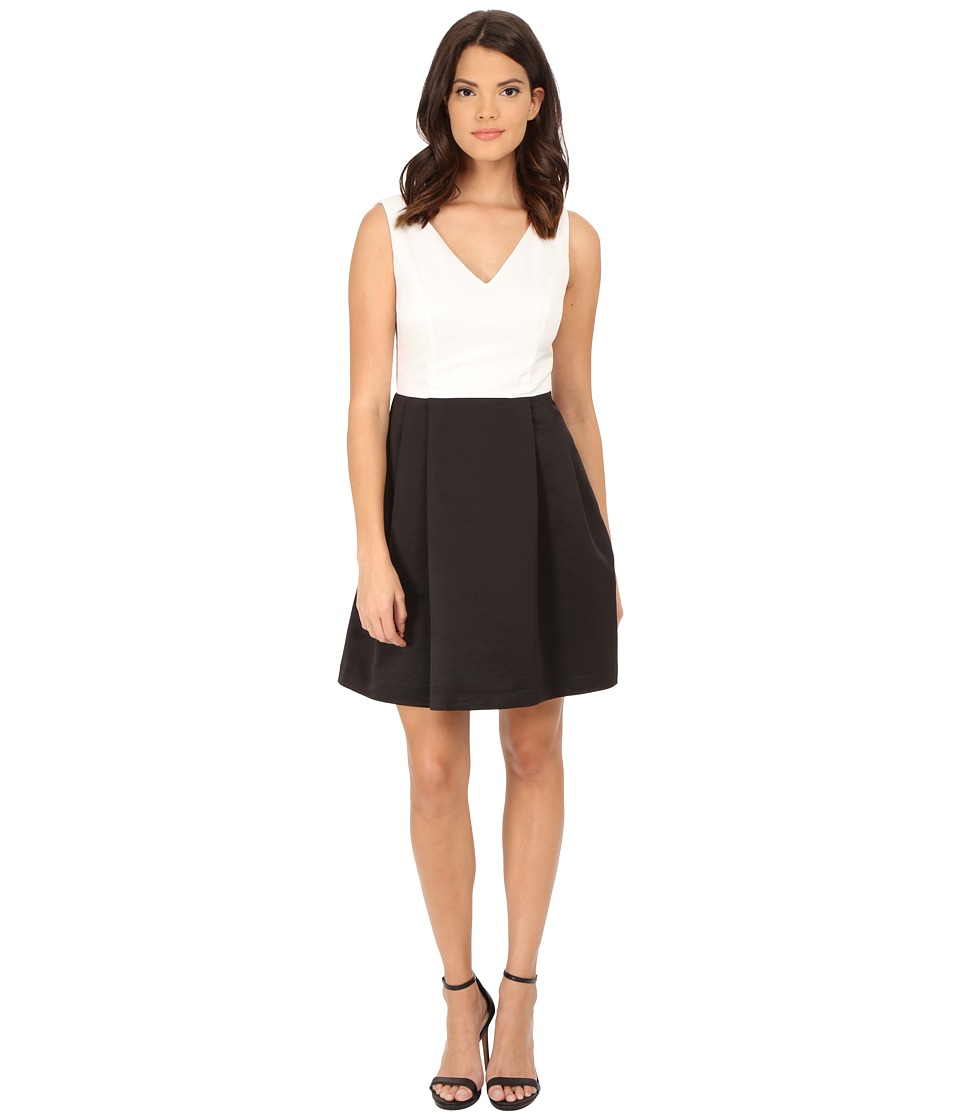 Jessica Simpson Color Block Fit and Flare Ivory Dress
