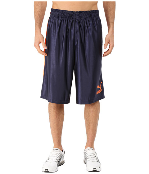 PUMA - 12 Hoops Shorts (Peacoat/Vermillion Orange) Men's Shorts