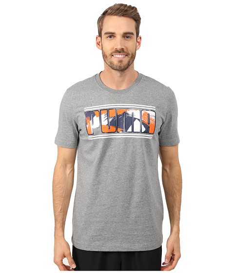 PUMA - Neo Camo Graphic Tee (Medium Gray Heather) Men