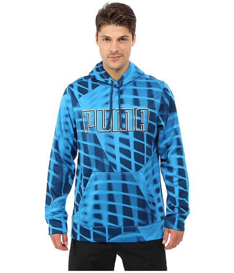 PUMA - High Shine Hoodie (Black/Poseidon Print) Men